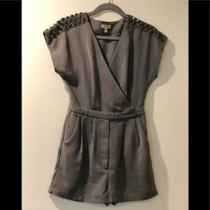 SILENCE & NOISE GREY STUDDED ROMPER